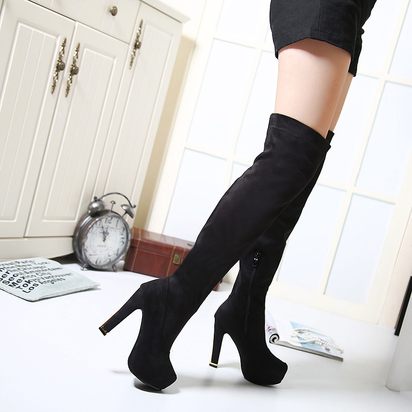【MOQ 50 pairs】In the fall and winter of 2015 waterproof Taiwan female high-heeled boots boots high-heeled boots suede bo's main photo