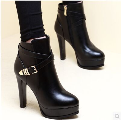 【MOQ 50 pairs】2015 the European and American qiu dong high-heeled boots round head waterproof Taiwan sexy stilettos belt's main photo