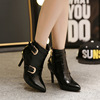 【MOQ 50 pairs】Fine with short boots and ankle boot of new fund of 2015 autumn winters is pointed high-heeled shoes buckl