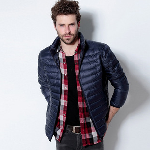 Men's 2015 fall and winter thin coat of white duck down jacket zipper collar men's long-sleeved jacket wholesale