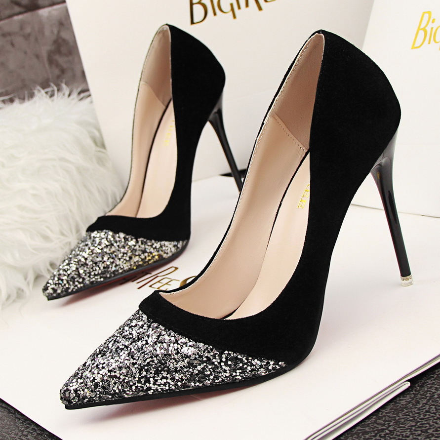 European style fashion heels Sexy Heels fine suede sequins color shallow mouth pointed shoes's main photo