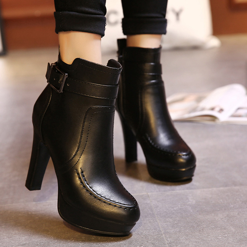 Europe and the United States of new fund of 2015 autumn winters high-heeled boots and waterproof Taiwan thick's main photo