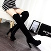 European and American fashion contracted wind thick with high with waterproof suede sexy nightclub show thin knee-high b