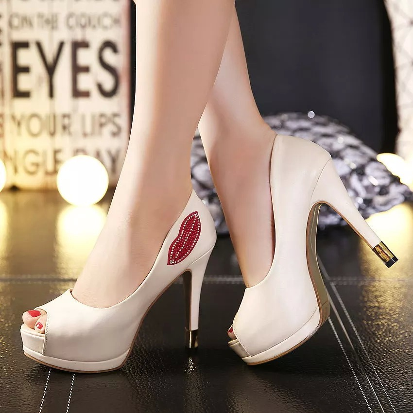 Sexy lips diamond single fish mouth high-heeled shoes heel shoes waterproof fall 2015 single shoes's main photo