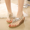 2016 Bohemian wedges for women's shoes in Europe and the diamond flip flops sandals