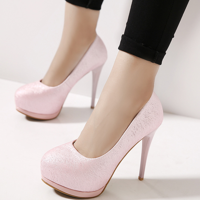 The spring of 2016 new super high heels shallow mouth fine with waterproof round sweet wedding shoes sexy nightclub OL s's main photo