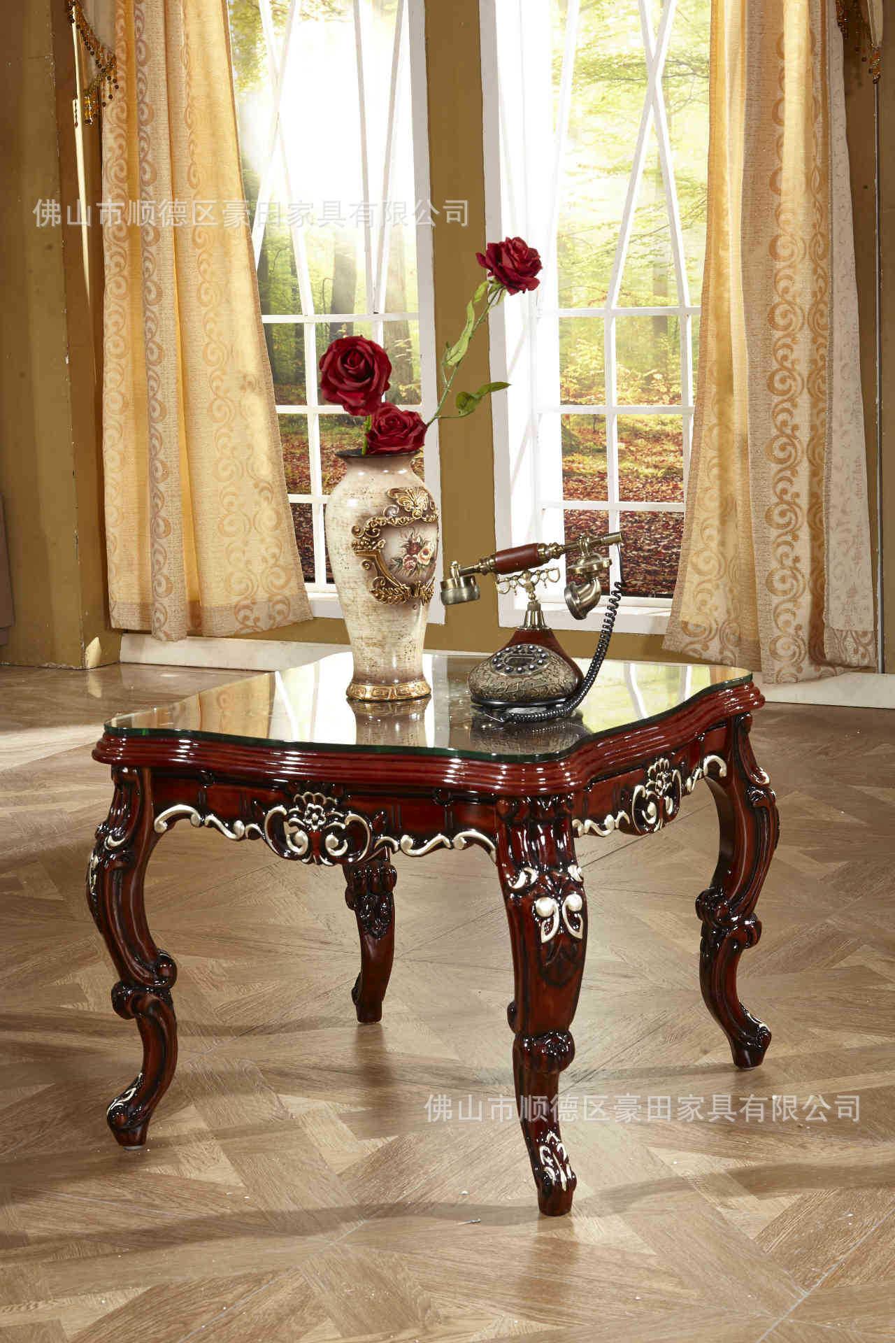 欧式实木家具橡木茶几小方几手工雕花描银贴仿古式方形角几