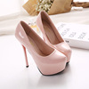 spring of new super high heels with a fine round shoes OL shoes waterproof nightclub occupation bare pink shoes Asakuchi