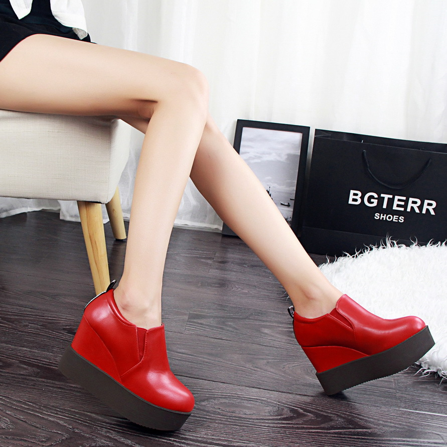 Korean fashion casual comfort all-match high-heeled platform shoes with slope deep round mouth shoes's main photo