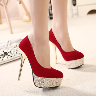 The new 14 cm high with waterproof single sequined shoes heel nightclub shoes red wedding shoes T stage performance