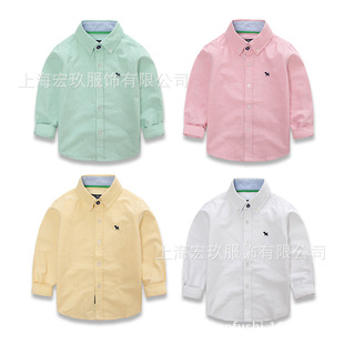 Wholesale Blue Dog Kids children cotton long-sleeved oxford shirt boys clothing soft washed shirt multicolor