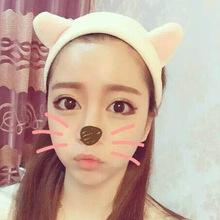 韩国发箍_猫耳朵束发带韩国化妆运动可爱韩版