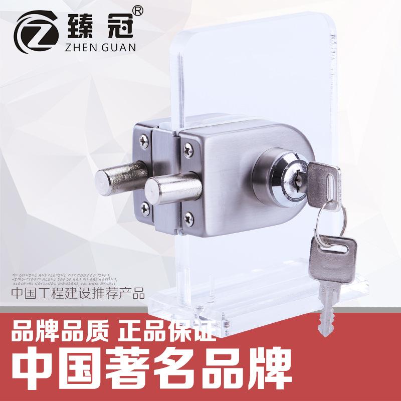 铜芯铜钥匙全不锈钢玻璃门锁 无需开孔玻璃门锁 半圆型玻璃门锁图片