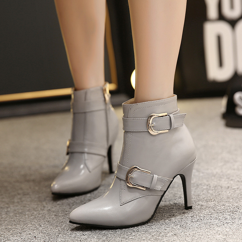 【MOQ 50 pairs】Fine with short boots and ankle boot of new fund of 2015 autumn winters is pointed high-heeled shoes buckl's main photo