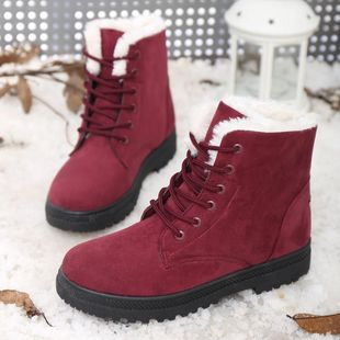 Foreign students winter snow boots women big yards Ms. Duantong warm boots with flat shoes Korean factory outlets