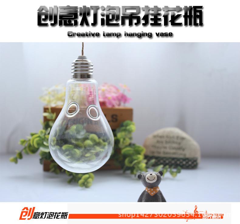 创意灯泡透明玻璃花瓶悬挂吊瓶大号水培植物微景观瓶子工艺