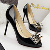 Korean fashion show thin Pedicure with ultra fine high-heeled waterproof shallow mouth mouth rivet Bow Shoes
