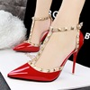 European style fashion sexy nightclub with a fine ultra shallow mouth hollow rivets high-heeled pointed T strap sandals