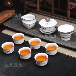 厂家直销玲珑雪花釉套装茶具 礼品茶具可印LOG 优质陶瓷功夫茶杯