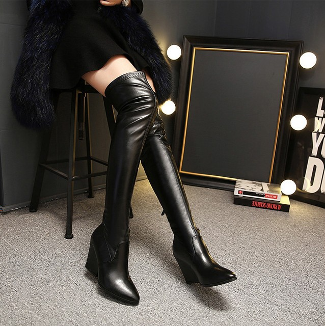 The new winter 2015 Wedge over-the-knee female boots pointed black show thin joker high boots sexy female boots's main photo