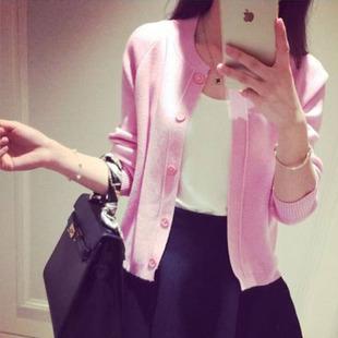 2015秋季新款空调衫简约针织女开衫 时尚百搭披肩短外套0826