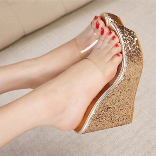 2015 new PinTou bright piece waterproof wedge sandals Four color 34 yards sexy sequins wedge sandals