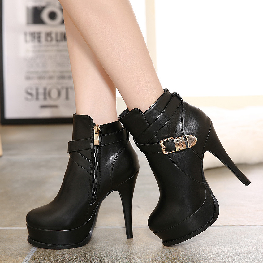2015 and the European and American female boots with super sexy thin high-heeled shoes buckle waterproof joker short boo's main photo