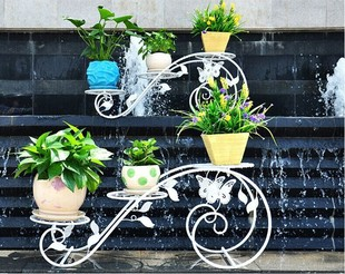 乡韵新款铁艺花架室内 欧式三层阳台户外多层蝴蝶型花架 移动花架