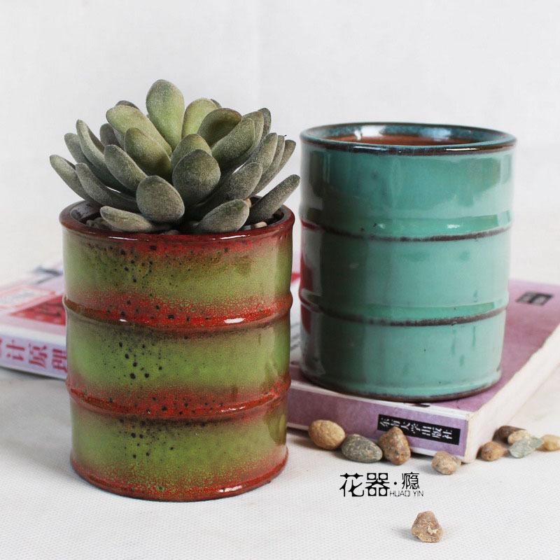 厂家新品热销油桶蓝色花釉流釉有孔多肉花盆陶瓷工艺品紫砂花 器