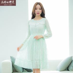 凤怡2016春季新款女装流苏花边收腰连衣裙韩版蕾丝