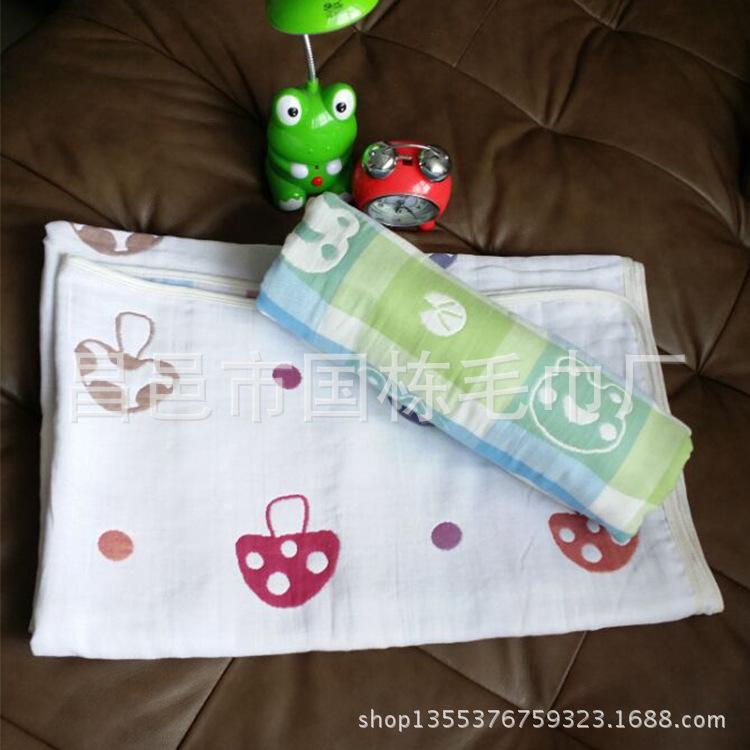 新品上市 110*110cm 纯棉5层包被 浴巾 【图】