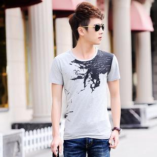 2015新款夏季男装 男士纯棉韩版时尚半袖t恤V领短袖男式T恤
