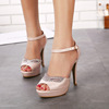 2016 Summer sandals han edition high with fine with nightclubs waterproof Taiwan sexy stilettos diamond wedding shoe fis
