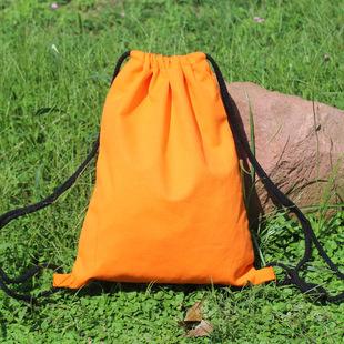 厂家现货定制 彩色棉布帆布学生补习培训礼品双肩抽绳束口背包袋