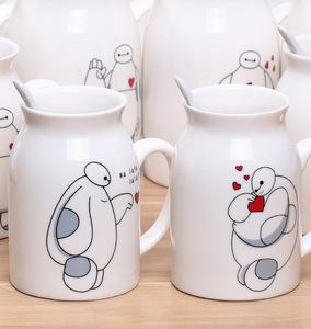 时尚动漫图案带盖搅棒勺喝牛奶