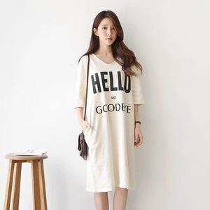 104#2015夏装新款韩版女装宽松大码印花圆领连衣裙中