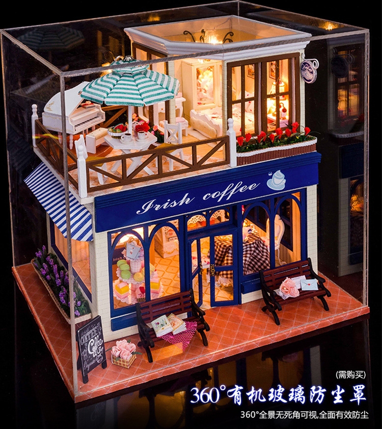 New Kits Diy Wooden Dollhouse Miniature Doll Houses Cover Gift Toy Irish Coffee Ebay