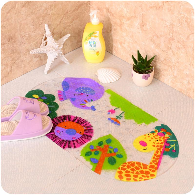 0908创意浴室防滑垫带吸盘卫生间脚垫地垫pvc卡通洗澡淋浴垫批发图片
