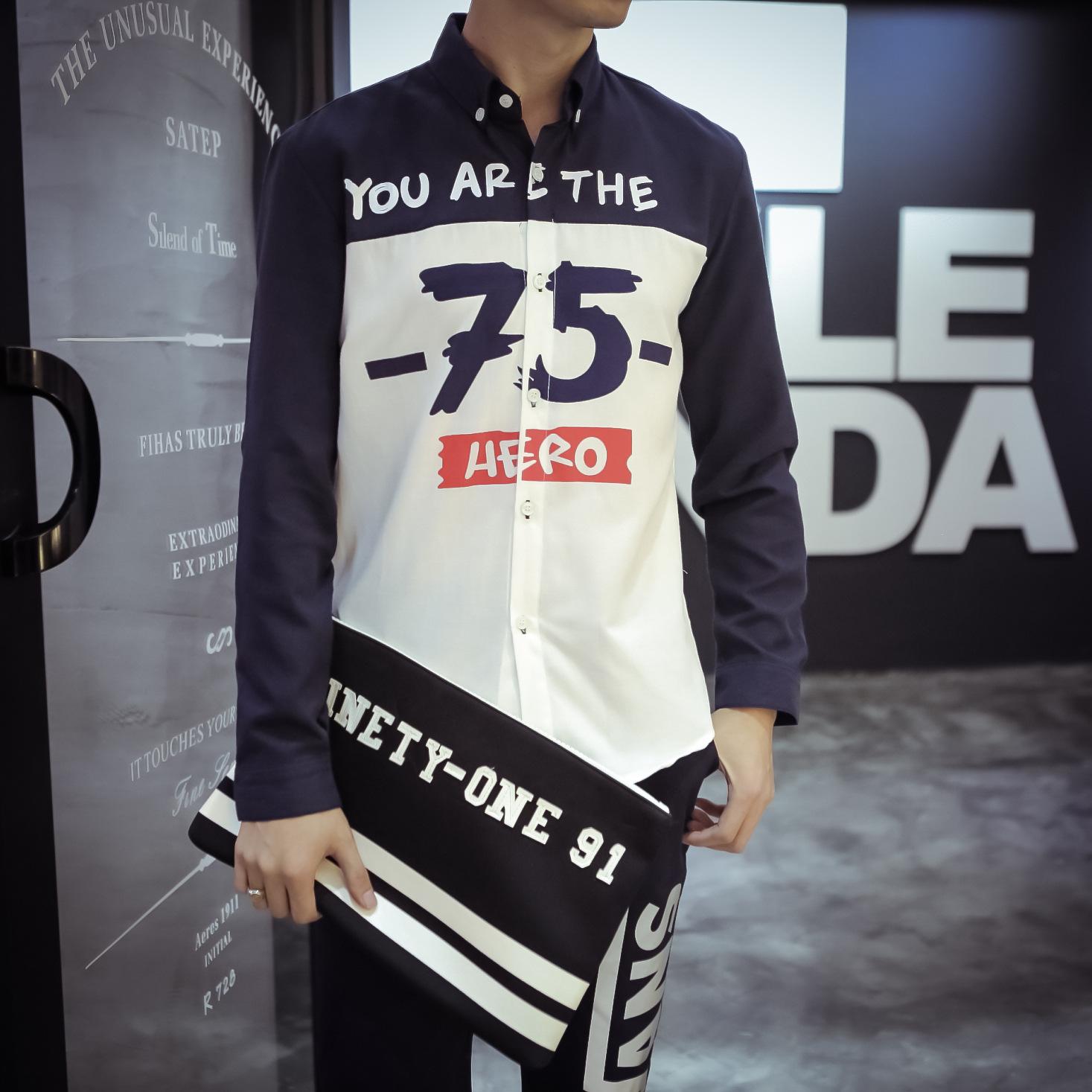 2015秋季男士字母数字印花日系韩版休闲长袖衬衫余文乐港风潮衬衫图片