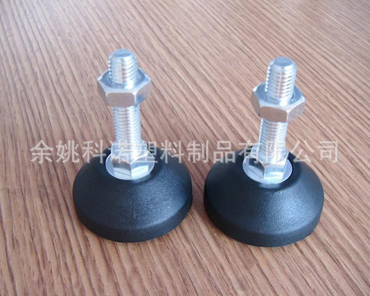 科诺供应M10碳钢镀白锌固定调节脚 尼龙可调脚 机床橡胶减震脚垫