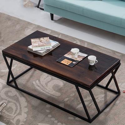 休闲铁艺实木茶几 复古做旧欧式简易创意长方形茶桌