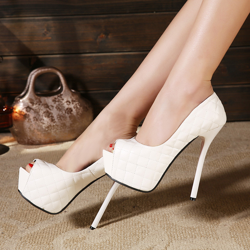 2015 new sexy ultra high heels with a fish mouth with a thin high heel shoes's main photo