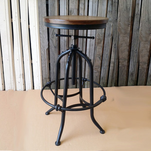 欧式铁艺可旋转升降吧椅 仿锈复古做旧实木高脚凳 前台椅厂家直销