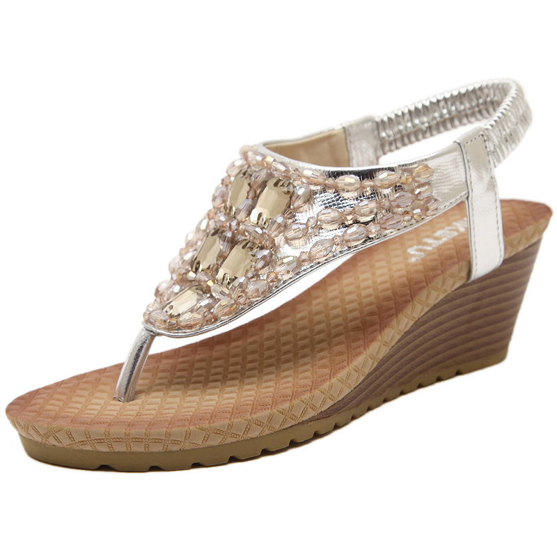 2016 Bohemian wedges for women's shoes in Europe and the diamond flip flops sandals's main photo