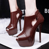 European and American fashion club waterproof hollow super fine with sexy high-heeled fish mouth thin deep short boots
