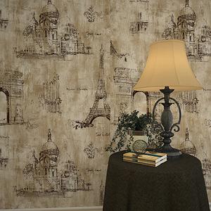 美式复古墙纸个性壁纸埃菲尔巴黎铁塔建筑城堡墙纸