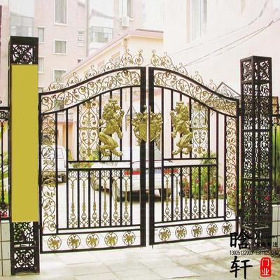 铁艺大门_创意欧式铁艺双开大门广州户外铁门庭院