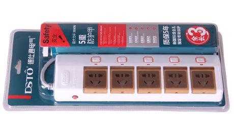 過載保護接線板_德仕通ds2212-3五位排插