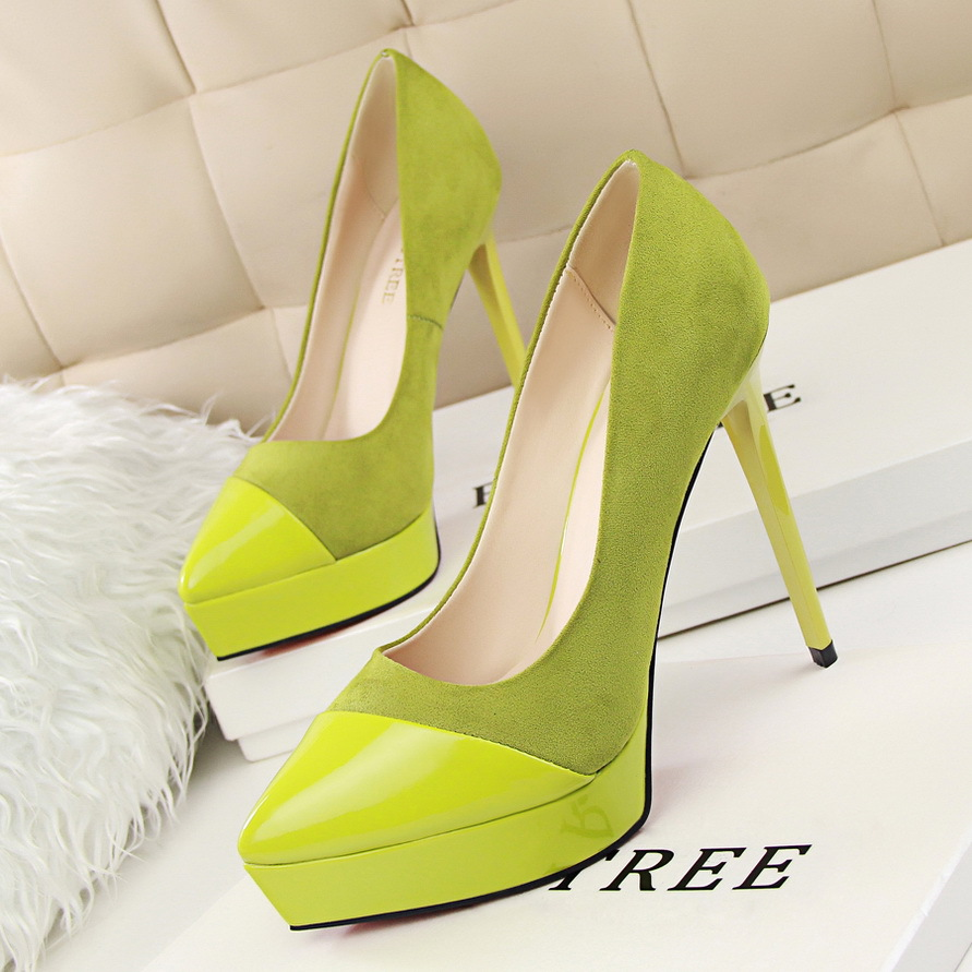 6 colors high heel shoes OL fine with simple Korean occupation sexy high-heeled waterproof suede shoes stitching shallow's main photo