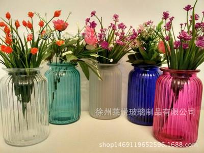 批发欧式复古透明彩色竖纹玻璃花瓶